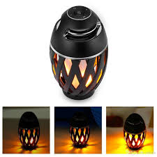 portable ip65 speaker bluetooth bt4 2 led flame lamp stereo soft light outdoor speaker for iphone ipad android