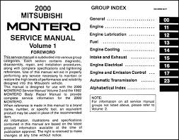 2000 mitsubishi montero repair shop manual set original