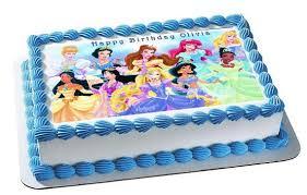 Disney Princess Edible Birthday Cake And Cupcake Topper Edible
