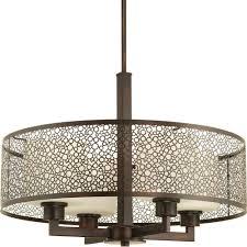 progress lighting mingle collection 4 light antique bronze pendant with natural parchment glass