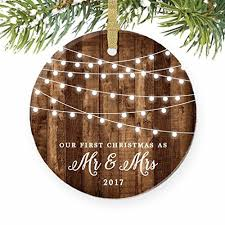 First Christmas as Mr & Mrs Ornament 2017, Rustic 1st Married Christmas  Ornament, First