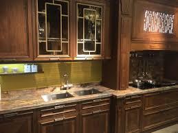 Leaded Glass Cabinets Door Brown Marble Countertop Undermount ...