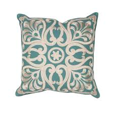 teal decorative pillows.  Pillows Kas Rugs Embroidery Scapes Teal Decorative Pillow In Pillows R