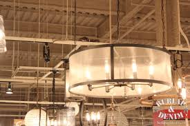 exciting drum shade chandelier for industrial home interior design with ceiling design