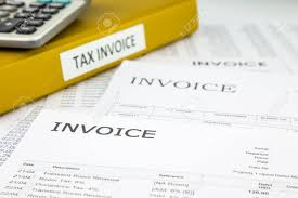 Binder Of Tax Invoice Documents With Bills And Business Invoices ...