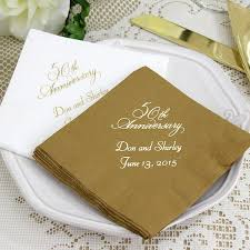 custom personalized napkins. anniversary cocktail napkins printed with placement a vw50 design and two lines custom personalized d