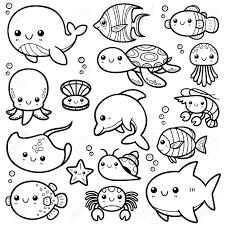 ベクトル イラストの海の動物漫画 塗り絵