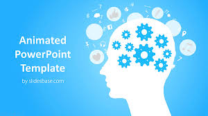 Powerpoint Backgrounds Blue Animated Head With Cogs Powerpoint Template