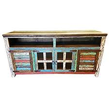 RUSTIC FOR LESS Hiend 72 Inch Rustic Western Multicolor Antique Distressed  Reclaimed Wood Look TV Stand Distressed Tv Stand D92
