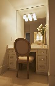 Unfinished Oak Bathroom Cabinets Beige High Gloss Finish Make Up Table With Wall Lights On