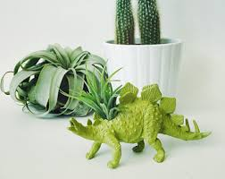 office planter. Small Chartreuse Stegosaurus Dinosaur Planter With Air Plant; Planter; Dino; Home Decor Office