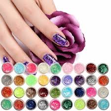 12 24 colors glitter uv nail polish shiny gel manicure decoration diy nail art glue