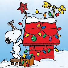 Snoopy - Christmas lights on doghouse #ThePeanuts #Snoopy
