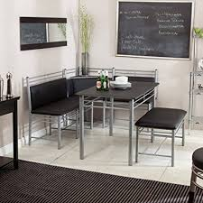 Amazoncom Breakfast Nook Black Family Diner 3 Piece Corner