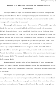Example Of An Apa Style Manuscript For Research Methods In