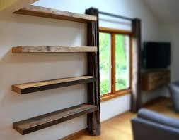 barn wood floating shelves shelf handmade brown on grey stucco wall reclaimed diy rustic