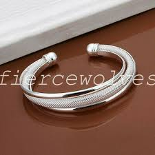 <b>US 925 Sterling Silver</b> Cuff Bracelet Bangle Chain Wristband ...