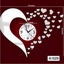 diy silver mirror hearts wall clock wall sticker home décor