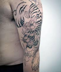 japanese tiger tattoo drawing. Wonderful Drawing Black Ink Flowers With Tiger Mens Japanese Arm Tattoo For Drawing S