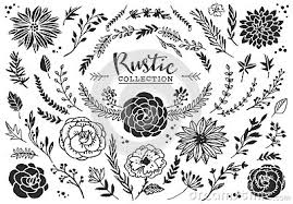 page rustic elements. Simple Elements Rustic Decorative Plants And Flowers Collection Hand Drawn Vintage Vector  Design Elements To Page Rustic Elements