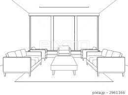 部屋 応接室 線画のイラスト素材 2961166 Pixta