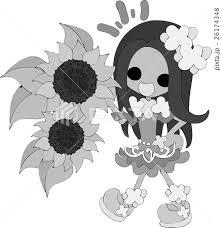 可愛い女の子とヒマワリのイラストのイラスト素材 26174348 Pixta