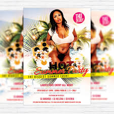 Summer Party Flyers Hot Summer Party Premium Flyer Template Facebook Cover