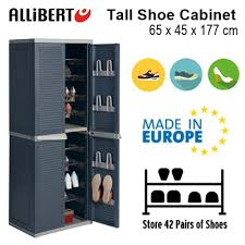 shoe cabinet furniture. [ALLIBERT] Tall Shoe Cabinet | Indoor Storage 42 Pairs Of Shoes Rack Furniture