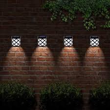 Garden outdoor lighting Home Garden Solar Powered Fence Lights Step Wall Door Led Light Garden Outdoor Lighting T2dking Solar Powered Fence Lights Step Wall Door Led Light Garden Outdoor