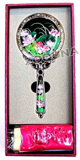 hand holding antique mirror. Modren Mirror Antique Hand Held Mirror Lotus Mother Of Pearl Round The Nacre  Make Beautiful Colors By Reflecting Light Intended Holding N
