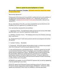 sponsorship agreement sample sponsorship contract indemnity sponsor commercial