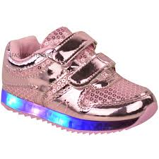 Baby Girl Shoes With Lights Details About New Girls Kids Babies Led Light Up Trainers Strappy Sneakers Toddler Shoes Size