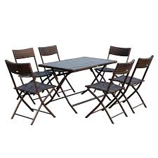 outsunny 7 piece outdoor folding rattan wicker dining table and chairs set patio furniture