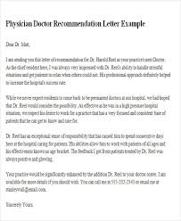 6 Sample Physician Recommendation Letters Sample Templates