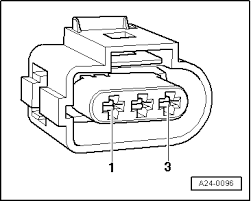 audi workshop manuals > a3 mk1 > power unit > motronic fuel check the wiring from the 3 pin connector sensor connector