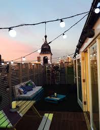 ideas for garden lighting. Rooftop Garden Festoon Lights Ideas For Lighting