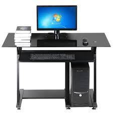 office desk glass top. Get Quotations · Yaheetech Modern Glass Top Computer Desk Home Office With Keyboard Shelf Black