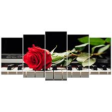 wieco art red rose on piano large modern 5 piece gallery wrapped floral giclee canvas on red rose canvas wall art with amazon wieco art red rose on piano large modern 5 piece