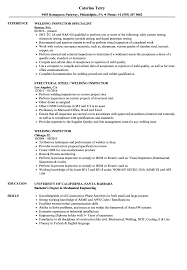 Inspector Resume Sample Welding Inspector Resume Samples Velvet Jobs 1