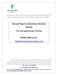 sample report on business decision making by instant essay writing 5