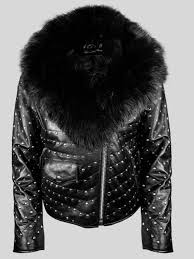 mid length metal studded real leather jacket with fur in black
