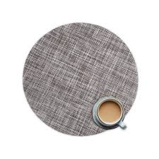 Round Placemats Washable Pvc Dining Table Mats Non Slip Heat Resistant Vinyl Placemats For Table Matkitchen Cup Matscoaster Pad Set Of 4dark