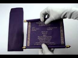 S242 Purple Color Scroll Wedding Invitations Scroll Invitations
