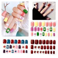 Design Your Own Fake Nails Micup Press On Painted False Nails Tips Summer Lovely Short Square Fake Nails For Manicure Diy