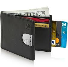 slim bifold wallet mens leather wallets pull tab for card storage man purse for