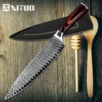 7Cr17 <b>Damascus</b> pattern <b>kitchen knife</b> - Shop Cheap 7Cr17 ...