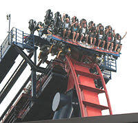 one of sheikra s trains going over the drop