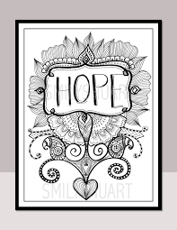 HOPE, Printable Motivational Quotes, Zentangle Adult Coloring ...