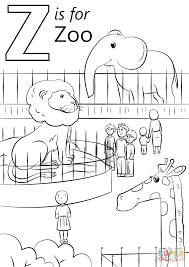z is for zoo coloring page. Letter Is For Zoo Super Coloring Inside Page