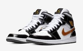 the black and gold patent leather air jordan 1 mid just restocked